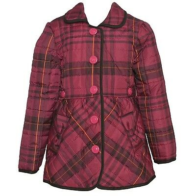 Urban Republic Little Girls Fuchsia Plaid Pattern Button Outerwear Coat 4-6X