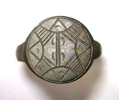 Ancient Rare bronze cast Ring with CROSS on bezel.