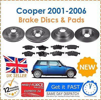 Brake Discs & Pads Front And Rear For Mini One Cooper S 1.6 R50 R53 2001-2006