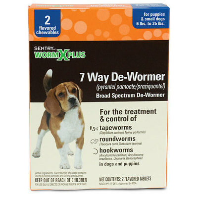 Sentry Worm X Plus 7 Way Broad Spectrum De-Wormer Puppies / Small Dogs 6-25lb 2p