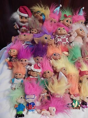 Vintage lot of 55 Assorted Troll Dolls Russ Uneeda Dam ?  3 to 12 inch (1) Talks