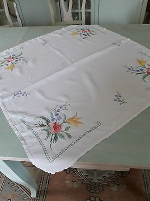 White Linen Hand Embroidered With Cross Stitch Tea Table Cloth