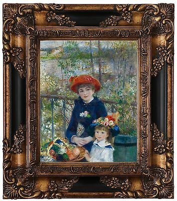 RENOIR 2 SISTERS GIRLS ON TERRACE FLOWERS PAINTING REAL CANVAS GICLEE 8X10 PRINT