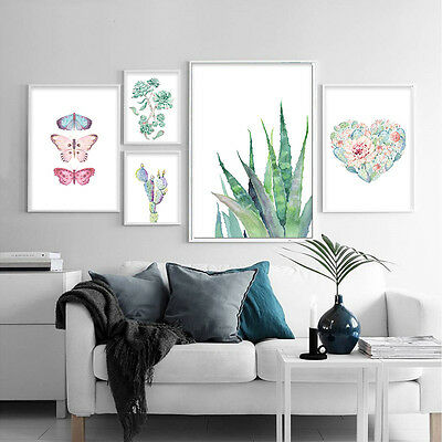 Cactus Butterfly Nordic Style Canvas Poster Wall Art Print Modern Home Decor
