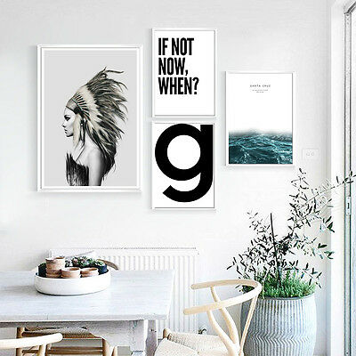 Motivational Quote Abstract Canvas Poster Wall Art Print Nordic Style Girl Sea