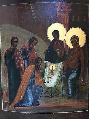 Antique 18th Century Russian Christian Orthodox Icon Egg Tempera on Wood