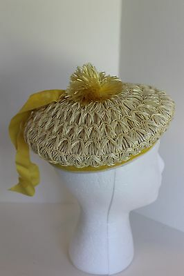 Vintage Light Yellow Child's Hat With Yellow Velvet Band