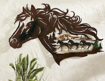 Western Horses Wall Mount Decor Metal Cut-out Rustic Shadow Accent Cowboy Theme