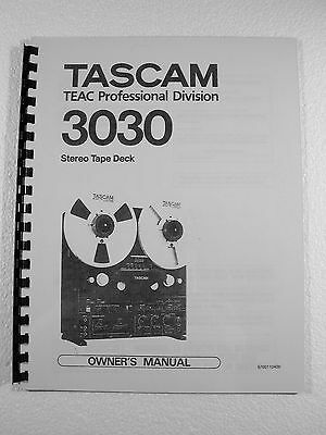 One New Copy Tascam 3030 Reel To Reel Tape Deck Recorder Owner's Manual