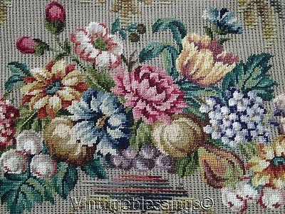 """Large Fine Antique Pettipoint Needlepoint Pre Worked Bench Canvas 53"""" Austria"""
