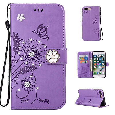 3D Flower Bling Pattern Leather Wallet Diamond Case Flip Cover for iPhone 7 Plus