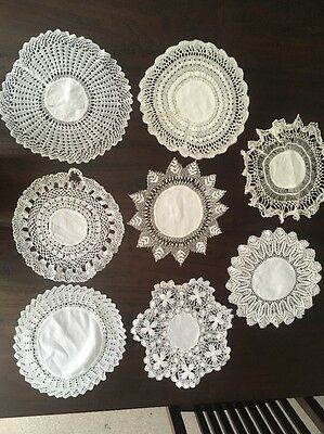 8 Lovely Vintage Damask Linen Centre Doilies Lace Borders 9 to 10.5in diameter