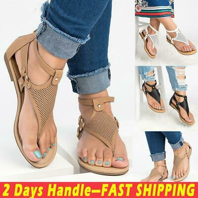 US Women's Flat Heel Zipper Back Sandals Summer Beach Casual Flip Flops Shoes
