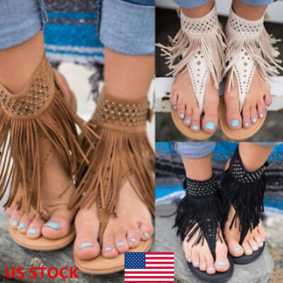 US Women Bohemian Tassel Flat Gladiator Sandals Open Toe Casual Shoes Flip Flops