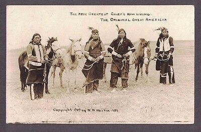 """1909 RPPC Native American Indian """"Four Greatest Chief's Now Living"""" AZO Postcard"""