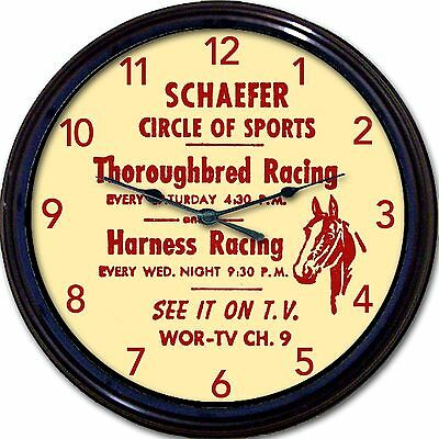 Schaefer Beer Thoroughbred Harness Horse Racing Coaster Wall Clock WOR TV 10""