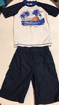 Boys Gymboree Rash Guard & Swim Trunks/Board Shorts Size L 10 12