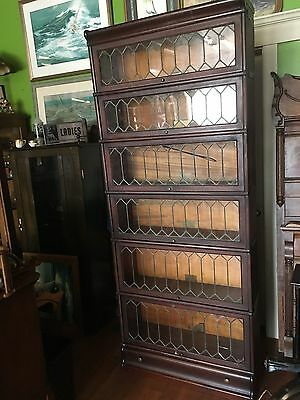 Antique Globe Wernicke Stacking Bookcase 6 Section Original Leaded Glass