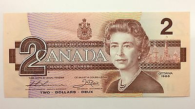 1986 Canada Two 2 Dollars BBP Series New Bill Note Uncirculated Banknote A994
