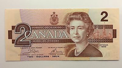 1986 Canada Two 2 Dollars AUK Series New Bill Note Uncirculated Banknote A996