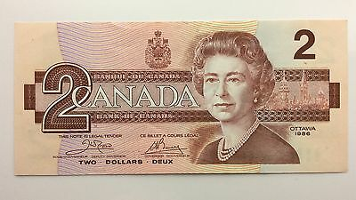1986 Canada Two 2 Dollars AUL Series Bill Note Extra Fine Banknote A997