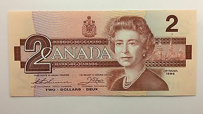 1986 Canada Two 2 Dollars BBB Series New Bill Note Uncirculated Banknote A999