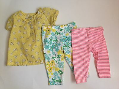Carter's Lot Of 3 Baby Girl Top Pants Size 3 Months