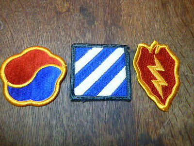 A   Lot of 3  U S Army Merrowed Edge  Patches