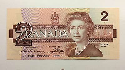 1986 Canada Two 2 Dollars BBA Series New Bill Note Uncirculated Banknote B002