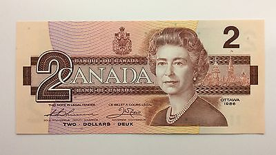 1986 Canada Two 2 Dollars BGU Series New Bill Note Uncirculated Banknote B003
