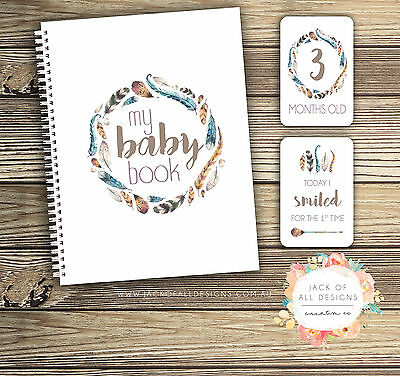 GIFT SET: Baby Record Book and Milestone Cards - Boho Feather