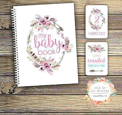 GIFT SET: Baby Record Book and Milestone Cards - Floral Watercolour