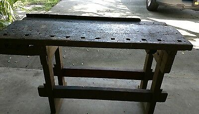 VINTAGE CARPENTER  CABINET MAKER WORKBENCH primitive Industrial