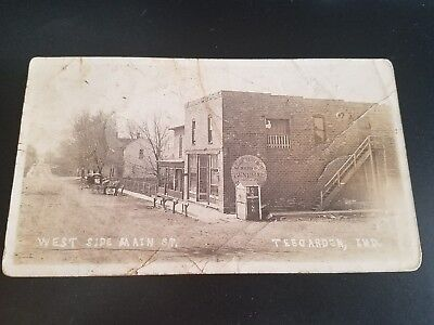 c. 1900 Rare TEEGARDEN, INDIANA WEST SIDE MAIN ST Real Photo Post Card