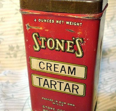 "OLD ""StoneS"" SPICE TIN 4 OZ.CREAM TARTAR FULL STONE ORDEAN WELLS CO. COFFE     ."