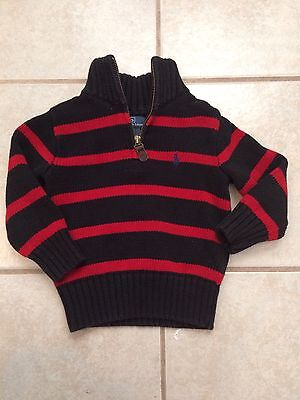 2T boys red & Black Stripe zip Ralph Lauren sweater
