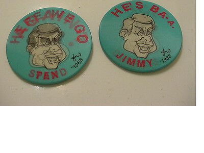 Lot Of 2 Vintage Presidential George H. W. Bush Campaign Button -Anti Dukakis 88