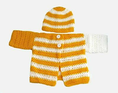Crochet Baby Clothing Outfit Striped Cardigan and Hat Set for 3 - 12 mo #062