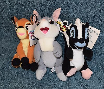 """Disney BAMBI, THUMPER and FLOWER 8"""" Mini Bean Bag Plush Set of 3 - New with Tags"""