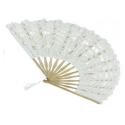 Wihte Handmade Cotton Lace Folding Hand Fan for Party Bridal Wedding Decor New