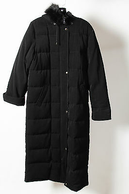 Anne Klein Black Full Button Zip Hooded Fur Long Puffer Coat Size S