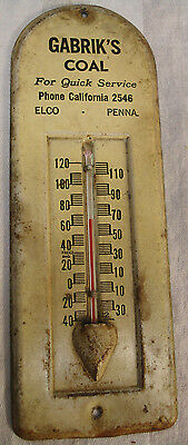 Vintage 1940's? Gabrik's Coal Advertising Thermometer-Elco, Pa-Works