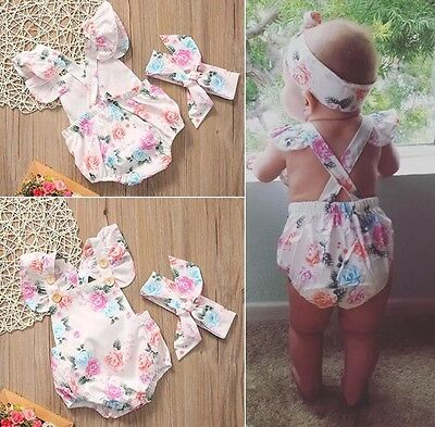Baby Girl Floral Romper One Peice W Headband Summer Photo Cute 6-12M