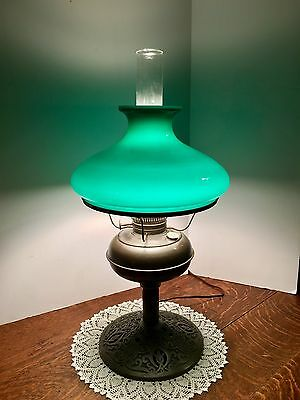 Antique Rayo Oil Lamp With Green Cased Glass Shade~ Electrified~ Ornate Base~