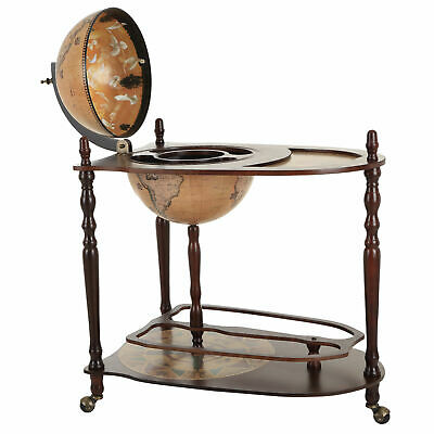 HOMCOM Wine Bar Wood Globe Drink Cabinet Minibar Bottle Storage Trolley 890MM