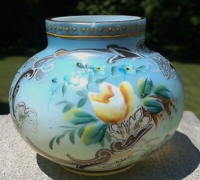 "Sweet Miniature 3"" Victorian Bristol Glass Vase Hand Painted Enamel Decoration"