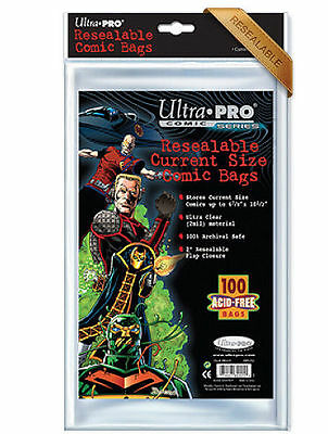 100-pk Current Size Comic Resealable Bags Clear Sleeve Pocket Ultra Pro Storage