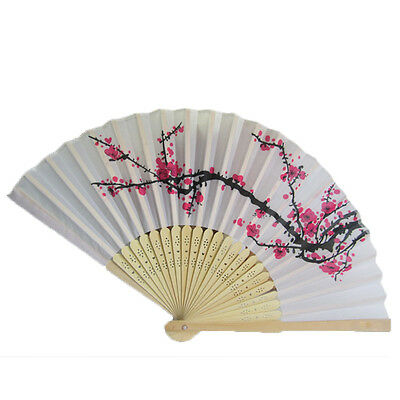 China Summer Style Folding Hand Fan Fabric Floral Wedding Dance Favor Pocket Fan