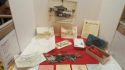 Vintage Lot of Automobilia Collectabiles Keys, Advertising, Photos and Patches