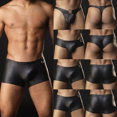 Mens Lingerie Bikini G-string Underwear Faux Leather Briefs Thongs Trunks Boxer